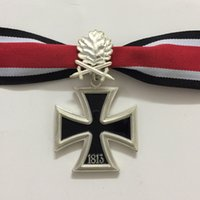 Wholesale Knight Pin - Wholesale- Soviet Badge German Iron Cross Medals with Ribbon Knights ww2 with Oak Leaves in Cloth Bag World War II