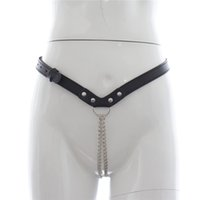 Unisex black thong sex - Female Sex Products Exotic PU Leather Panties Black Sexy Chain Thong Chastity Belt Adjustable Underwear Bondage for Women