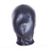 Wholesale Cosplay Bondage - Soft PU Leather Hood Mask Hood Bondage Blindfold Sex Toys For Couples BDSM Adult Game Fantasy Sex Cosplay Restraints Sex Product q0506