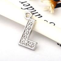 Wholesale alphabet fit bracelet - Fashion Letter L Full Rhinestones Bling Slide Letter DIY Alphabet Charms Fit For Wristband Bracelet&Necklace Findings Jewelry