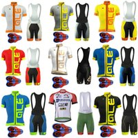 Wholesale Shirt Padded - 2017 Pro Team Ale Cycling Jersey Bicycle Clothing Short Sleeve shirt 9D Pad bib shorts set Breathable Quick Dry Ropa Ciclismo hombre F0601