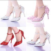 Wholesale Glass Slipper Rhinestone Wedding Shoes - High quality NEW Women's High heels hollow diamond Ultra high Fine with Glass slipper One word Wristbands Women's Wedding shoes