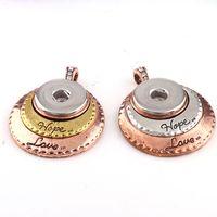 Wholesale Wholesale Gold Hope - 2017 Interchangable Fit 18mm Snap Buttons Vintage Hope Love Snaps Button Metal Pendant DIY Necklace Jewelry Charm