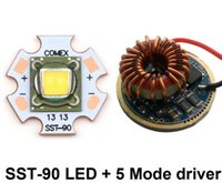 Wholesale Luminus Led - Luminus SST-90 LED Chip diode bulb 3000k warm white 30W 2250 Lumens LED Emitter with 20mm Copper Board + 5 Modes Driver Board
