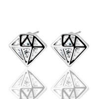 Wholesale Rhinestone Spikes Studs - Trendy Spike Crystal Stud Earrings Alloy Silver Color Geometric Zircon Earrings Fashion Jewelry Hot Selling For Women