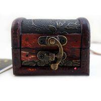 boîte en bois de stockage vintage achat en gros de-Boîte à bijoux vintage organisateur de rangement cas Mini motif de fleur en bois contenant en métal à la main en bois petites boîtes