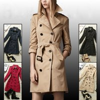 Wholesale Classic Khaki Trench Coat - Hot Classic! Womens british double breasted trench coat high quality brand England designer trench Coats for women size S-XXL Khaki black