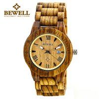 Mejores Relojes De Madera Para Hombres Baratos-BEWELL 2017 Wood Watch Man Watches Luxury Brand reloj de pulsera de madera reloj de cuarzo mejores regalos para hombres con fecha dispaly 109B
