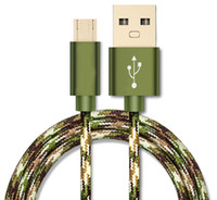 Wholesale Sync Plated - 1M Fabric Braided Sync micro usb Cable Android Charger Cord Wire Metal Shell Gold-plated Connector for Samsung galaxy