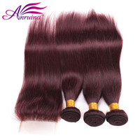 Wholesale 24 Human Red Hair - Hot Sale Unprocessed 99j Straight Virgin Hair With Closure #99J Malaysian Human Hair 3 Bundles With Lace Closure 4Pcs Lot Red Hair