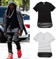 camisa de cuero de los hombres del oro al por mayor-Camiseta larga negra con cremallera dorada Camiseta con paneles de cuero desmontable Hiphop Kanye West Ropa para hombres