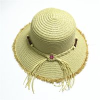 Wholesale Golf Bow Tie - straw hats straw hat for ladies women hats, bucket hat summer beach sun hats with flower , hat with bow