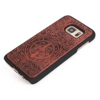 Wholesale i phone hard cover - U&I ® High Quality Rubberized Hard PC Back Cover Case Wood Cell Phone Case for Samsung S7 S7 edge