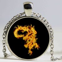 Wholesale Reptile Jewelry - Silver Chain Hot Sale Lizard Necklace Reptile Jewelry Flame Animal Glass Cabochon Pendant Necklace Creative Gifts