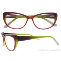 Wholesale Clear Glass Shapes - china factory wholesale New Fashion acateate full rim Cat Eye shape vintage women Optical Glasses Frames