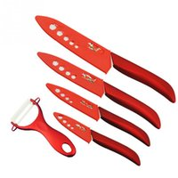 Wholesale High Quality Kitchen Knife Sets - high quality vintage ceramic knife set 3  4  5  6 inch Kitchen Knives with red flower covers kitchen knives cooking tools