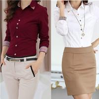 mujeres profesionales camisas largas al por mayor-2016 Nuevo Cuerpo de Mujer Blusas S-xxl Otoño Camisas de manga larga, Mujeres 5 Colores Tops de Camisas, Ocupación Profesional Blusa de Algodón