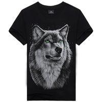 Wholesale T Shirts Skull Men Wholesale - 2017 New Punk t Shirts For Men Wolf Skull Animals Printing Mens t Shirts Creative Streetwear 100% Cotton Shirt Tops