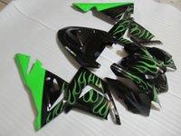 satılık zx kaplama toptan satış-Sıcak satış kawasaki Enjeksiyon kalıplama ZX 10R 2004 2005 için karoser ZX 10R 04 05 siyah yeşil alevler kaporta kiti ZX10R QQ67