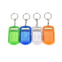 Wholesale Pocket Calculators - Wholesale- 1PCS Mini Calculators Mathematics Teaching Supply Plastic Pocket With Keyring 8 Digit Display LCD Screen For Kids Learning