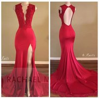 Deep Sexy Plunging V Neck Red Mermaid Prom Dress 2017 Neue Slim Lace Appliques Sequins High Split Abendkleider Sexy Open Back Formal