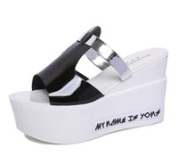 Wholesale High Platform Creepers Shoes - Summer New Woman Slippers Wedges Women Sandals High Heels Platform Fashion Casual Thick Sole Creeper Slides Slippers Outside Women Shoes