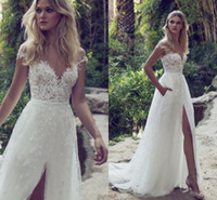 Wholesale Dress Bride Boat - Boat Neck Bohemia Beach Wedding Dress Lace Bride Gowns Off the Shoulder Country Garden Dress High Side Slit With Sash