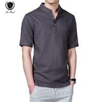 Wholesale Linen Shirt Colors - Wholesale- Summer Leisure linen shirts men Menswear Short Sleeve Solid Shirts Fashion Brand Clothing 7 COLORS 5XL Camisa Burderry men shi