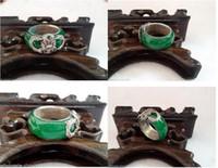 dragón de joyas de jade de plata al por mayor-Tíbet Silver Dragon Inlay Anillo de joyería de Jade verde