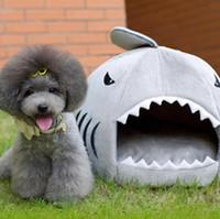 kedi ev köpekbalığı toptan satış-Kış Pet Ürünleri Sıcak Yumuşak Köpek Evi Pet Uyku Tulumu Köpekbalığı Köpek Kulübesi Kedi Yatak Kedi Evi cama perro 2 Boyutu