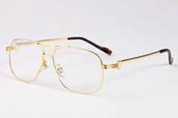 espejo de plata hombres gafas de sol al por mayor-Gafas de sol de lujo con borde completo para hombres Espejo liso Gafas de aleación de metal Marco de plata dorado Gafas de cuerno de búfalo vintage con caja