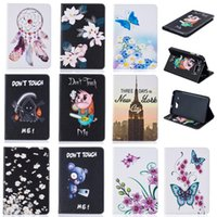 Wholesale Tower Case Stand - Tablet case For Samsung Galaxy Tab A 7.0 SM-T280 SM-T285 Cover Wallet Stand Leather Case With Card Slot Painting Butterfly tower