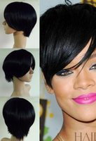 Wholesale High Quality Celebrity Wigs - Celebrity Hairstyles Rihanna Capless Short High Quality Synthetic Black straight Wig Free Shipping