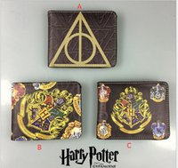 Wholesale Wholesale Gift Card Printing - Harry Potter Wallet 3 Styles Men Foldable Gryffindor Slytherin Badge Print PU Short Purse Cosplay Gifts