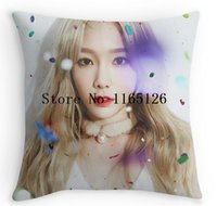 Wholesale Funny Squares - Wholesale- Pillow Case Hot Funny Girls' Generation TaeTiSeo 'Dear Santa' Typo Taeyeon Square Zippered Throw Pillows Decorative Pillowcase