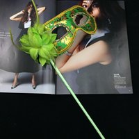 Wholesale Plastic Mask Side Flower - Masquerade Party plastic Masks On stick with cloth lace and side Flower masks for Masquerade Ball Black White colorful party Masks free