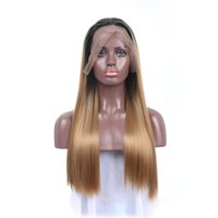 Wholesale Hair Wigs China - China human hair factory color 613 blonde full lace wig dark roots silky straight wig with light brown transpapent cap