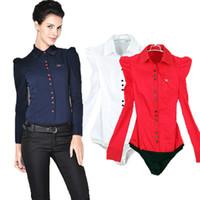 Wholesale Ladies Shirt Button Design - Women Body Shirt 2017 Summer Autumn Office Lady Elegant Puff Long sleeve Blouse Turn Down Collar Button Design Dark Blue Plus Size 2XL 3XL