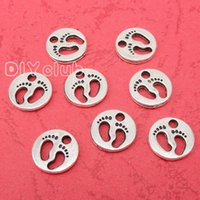 Wholesale Baby Foot Charms - 100pcs-Antique Bronze Silver Foot Baby Feet Charms Pendant 2 Sided Cute Mother and Child Feet Lovely Connector DIY Jewelry Making