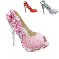 Wholesale Shoe Shallow Fish - New 10 CM Sparkling Open Toes Wedding Shoes Piscine Mouth Fish Flower Beaded Shallow High Heel Pink Silver Gold Red Bridal Shoe for Dres
