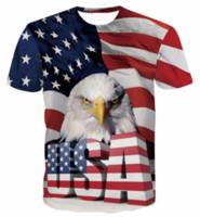 Wholesale America Flag T Shirt - New Arrival Women Men Cool USA Eagle Short Sleeves 3D Print America Flag T-shirt Summer Casual T-shirt S--5XL AA195