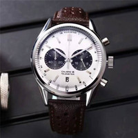 Wholesale Cow Leather Watches - 2017 New Listing Multifunction Luxury Mens Watches Imported Japan Quartz Movement Thickening Cow Genuine Leather Luxury Brand Wristwatch