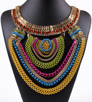 Wholesale Necklace Female Collar - Bohemia Style Trend Multicolour Wood Beads Vintage False Collar Female Chokers Necklaces Statement Jewelry Free Shipping HD-113