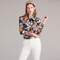 Wholesale Poker Tie - 2017 new women's shirt long sleeves shirt wave poker peach heart sun print tie temperament coat shirt