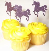 Wholesale Rustic Food - Glitter Unicorns Safari Animals Cupcake Toppers birthday rustic Wedding Bridal Shower Engagement Party food picks 30pcs