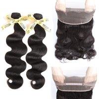 iyi saç paketleri toptan satış-Perulu Vücut Dalga Saç ile 2A Sınıf 360 Dantel Frontal 2 Demetleri 200g Bebek 360 Tam Dantel Frontal 22x4x2 HCDIVA İYİ KALİTE Remy Saç