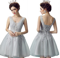 Wholesale Homecoming Tulle - 2017 Cheap Short Silver Homecoming Dresses V Neck Lace Appliqued Lace-up Prom Gowns Cheap Bridesmaid Party Dress CPS341