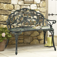 Wholesale Outdoor Patio Garden Bench Park Yard Furniture Cast Iron Antique Rose Design