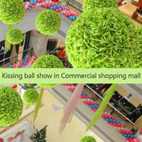 ingrosso palla artificiale verde del fiore di rosa-20-70 cm Diametro baciare fiore artificiale palla in bianco rosa blu verde per le decorazioni di spettacolo di nozze da giardino del partito