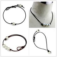 colliers faits à la main pour les femmes achat en gros de-Femmes Mode Sautoir Collier De Perles Bijoux À La Main En Cuir Corde Pendentif Perle Collier Imitation Naturel D'eau Douce Perle Collier